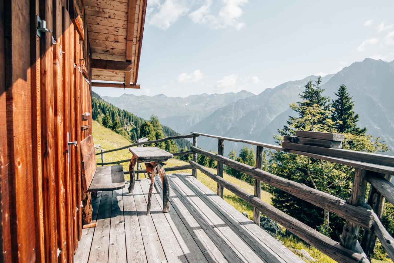 Pausenplatz auf dem Thomas Penz Höhenweg im Kaunertal
