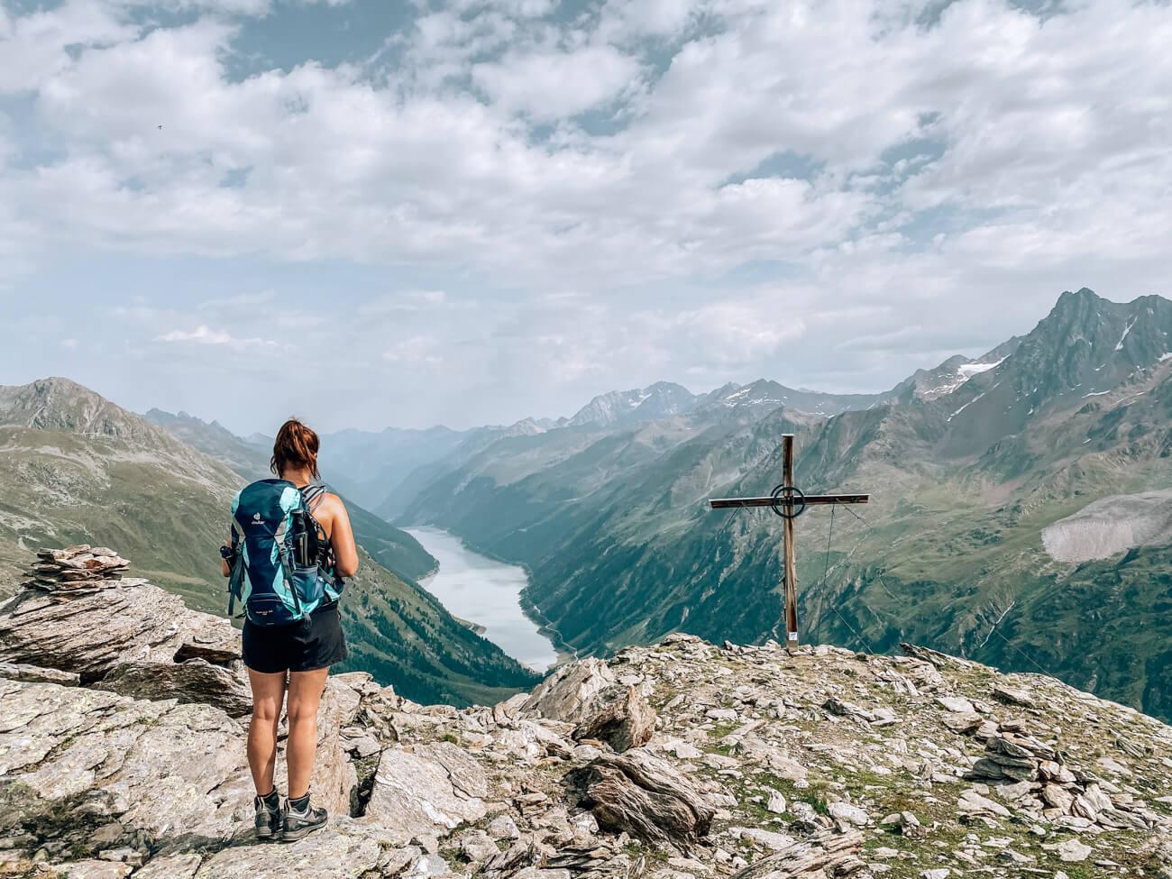 Ausblick vom Nörderberg auf den Gepatsch Stausee im Kaunertal